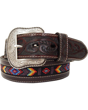 Roper Men's Hand-Tooled Beaded Silver Buckle Belt , Brown, hi-res