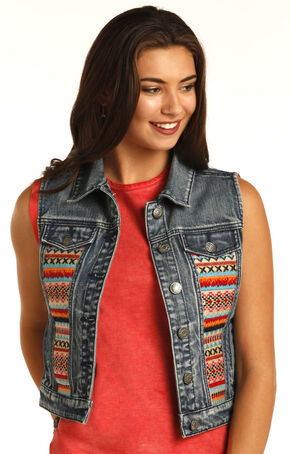 Rock & Roll Cowgirl Aztec Embroidered Denim Vest, Multi, hi-res