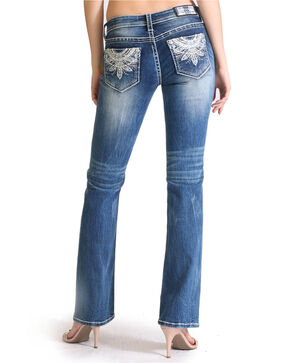 Grace in LA Women's Feather Embroidered Straight Leg Jeans , Blue, hi-res