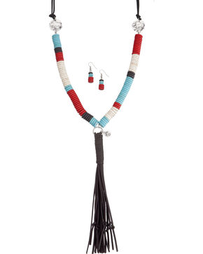 West & Co. Women's Beaded Disk Buffalo Leather Tassel Necklace Set, Multi, hi-res