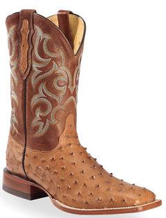 Justin Cognac Waxy Full Quill Ostrich Cowboy Boots - Square Toe , , hi-res