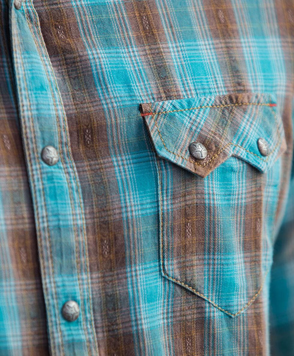 Ryan Michael Men's Brushed Ombre Dobby Plaid Shirt, Lake Blue, hi-res