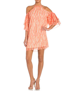 Miss Me Cold Shoulder Print Dress with Ruffle Sleeves, Coral, hi-res
