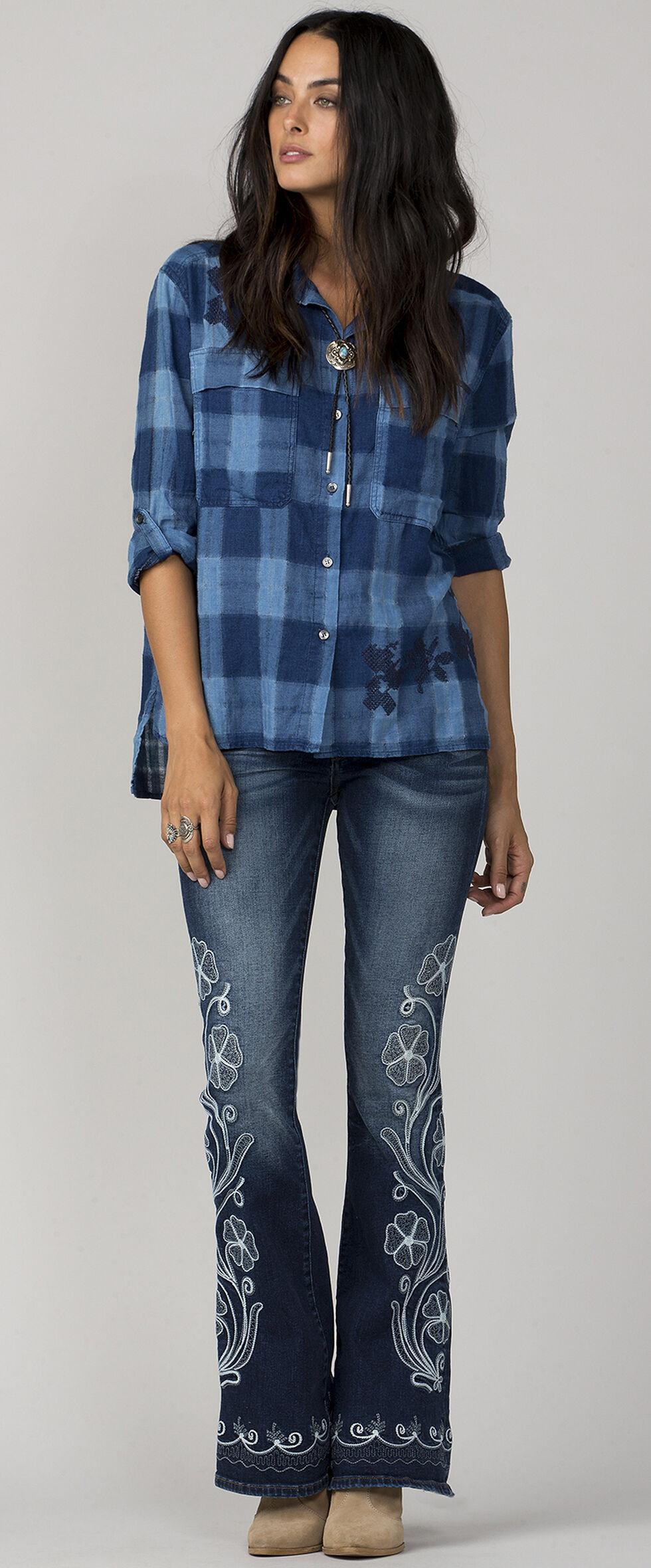 MM Vintage Women's Blue One Love Button-Up Plaid Shirt, Blue, hi-res