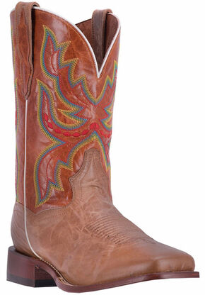 Dan Post Men's Tan Ezra Cowboy Boots - Broad Square Toe, Tan, hi-res