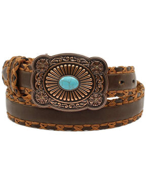 Ariat Women's Cross Stitch Lacing Brown Leather Belt, Brown, hi-res