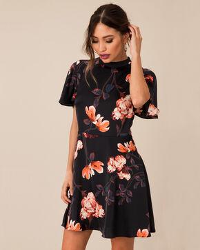 Black Swan Women's Floral Satin Cross Back Dress, Black, hi-res