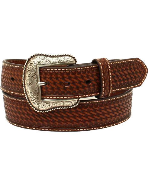 Nocona Men's Pierced Overlay Embossed Weave Western Belt, Brown, hi-res