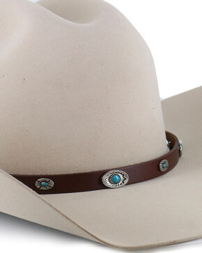 Cody James Men's Turquoise Concho Hat Band, Brown, hi-res