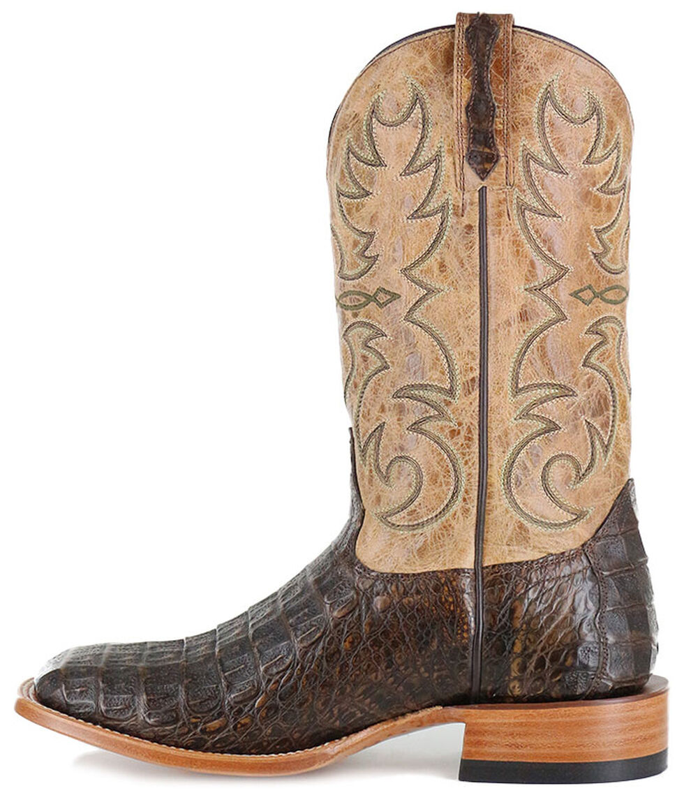 Cody James Men's Crackled Caiman Exotic Boots - Square Toe, Brown, hi-res