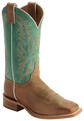 Justin Bent Rail Burnished Calf Cowgirl Boots - Square Toe, Tan, hi-res