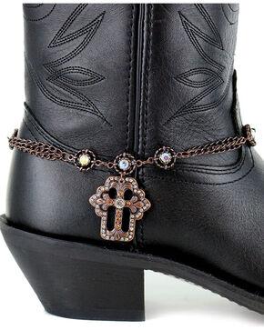Shyanne Women's Brown Cross Boot Bracelet, Brown, hi-res