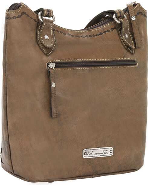 American West Native Sun Zip Top Bucket Tote, Brown, hi-res
