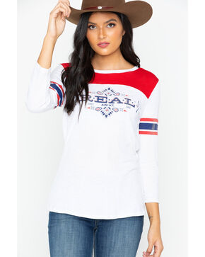 Ariat Women's Real Bandana Graphic Tee, Red/white/blue, hi-res