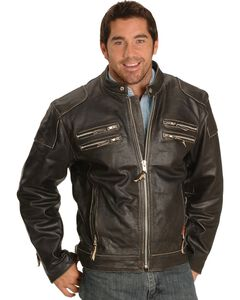 Interstate Leather Gangster Motorcycle Jacket, , hi-res