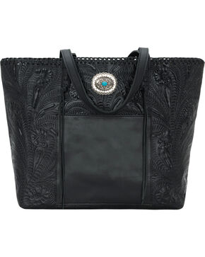 American West Women's Santa Barbara Large Shopper Tote, Black, hi-res