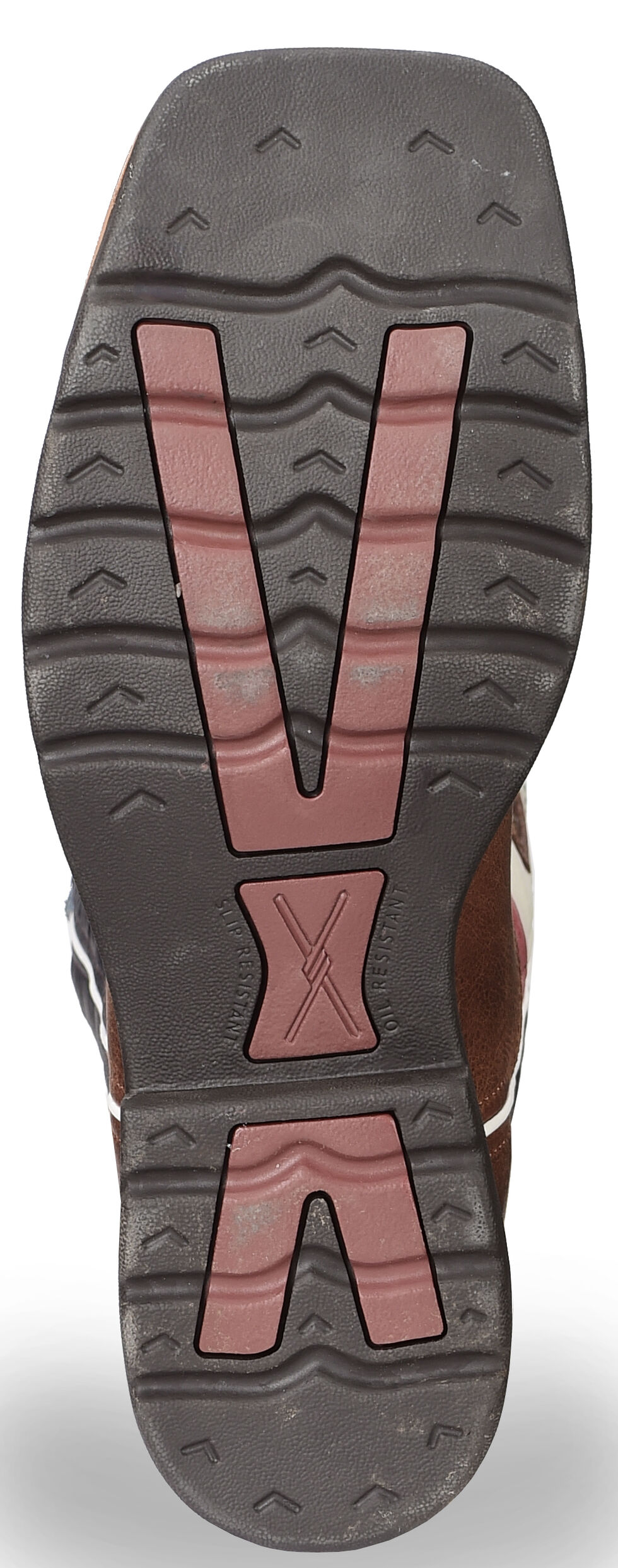 Twisted X Lite Texas Flag Pull-On Work Boots - Steel Toe, Brown, hi-res