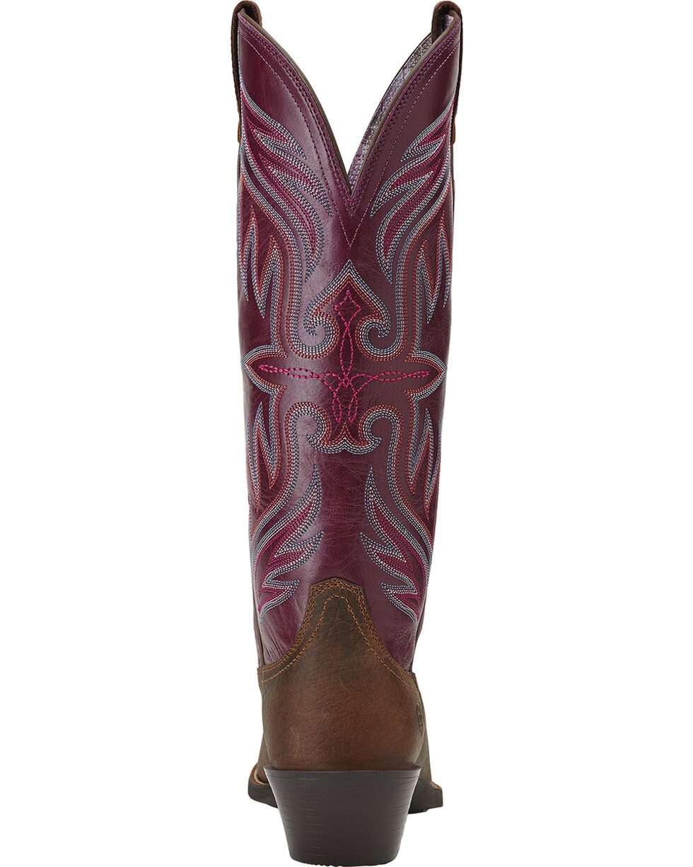 Ariat Women's Round Up Buckaroo Cowgirl Boots - Square Toe, Earth, hi-res