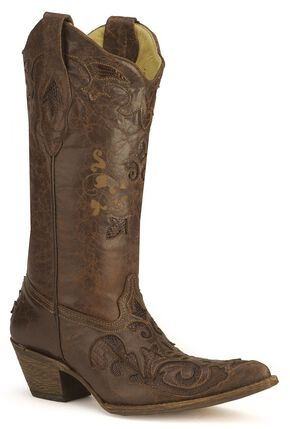 Corral Chocolate Lizard Inlay Western Cowgirl Boots - Pointed Toe, , hi-res