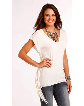 Panhandle Women's Cream Fringed Short Sleeve Top , Cream, hi-res
