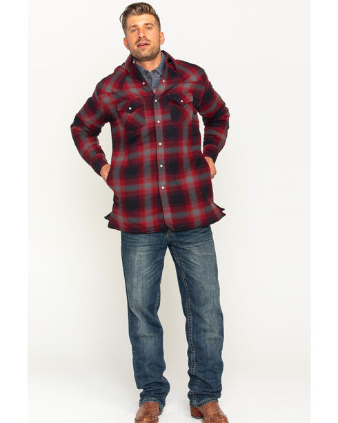 Ely Cattleman Men's Red Quilted Flannel Shirt Jacket - Tall , Red, hi-res