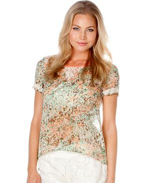 Miss Me Floral Print Lace Back Top, Multi, hi-res