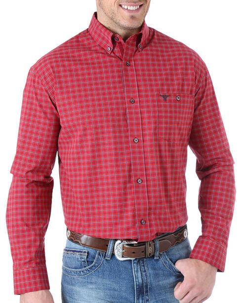 Wrangler 20X Plaid Long Sleeve Shirt, Burgundy, hi-res