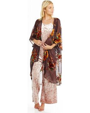 Mary & Mabel Women's Japanese Coco Velvet Burnout Long Kimono, Brown, hi-res