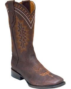 Ferrini Men's Navajo Western Boots - Square Toe , Chocolate, hi-res
