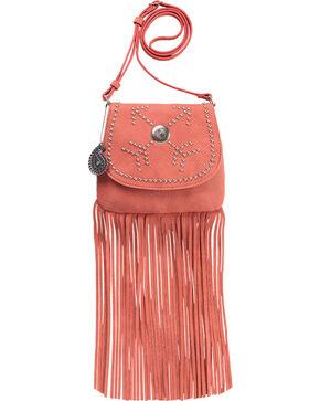Bandana by American West Austin Peach Fringe Flap Wallet Bag , Peach, hi-res
