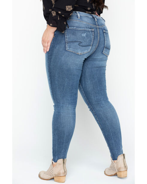 Silver Women's Indigo Faded Coloring Robson Jeggings - Plus Size, Indigo, hi-res