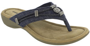 Minnetonka Women's Denim Silverthorne Thong Sandals, Blue, hi-res