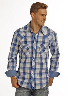 Rock & Roll Cowboy Men's Blue Long Sleeve Plaid Shirt , Blue, hi-res