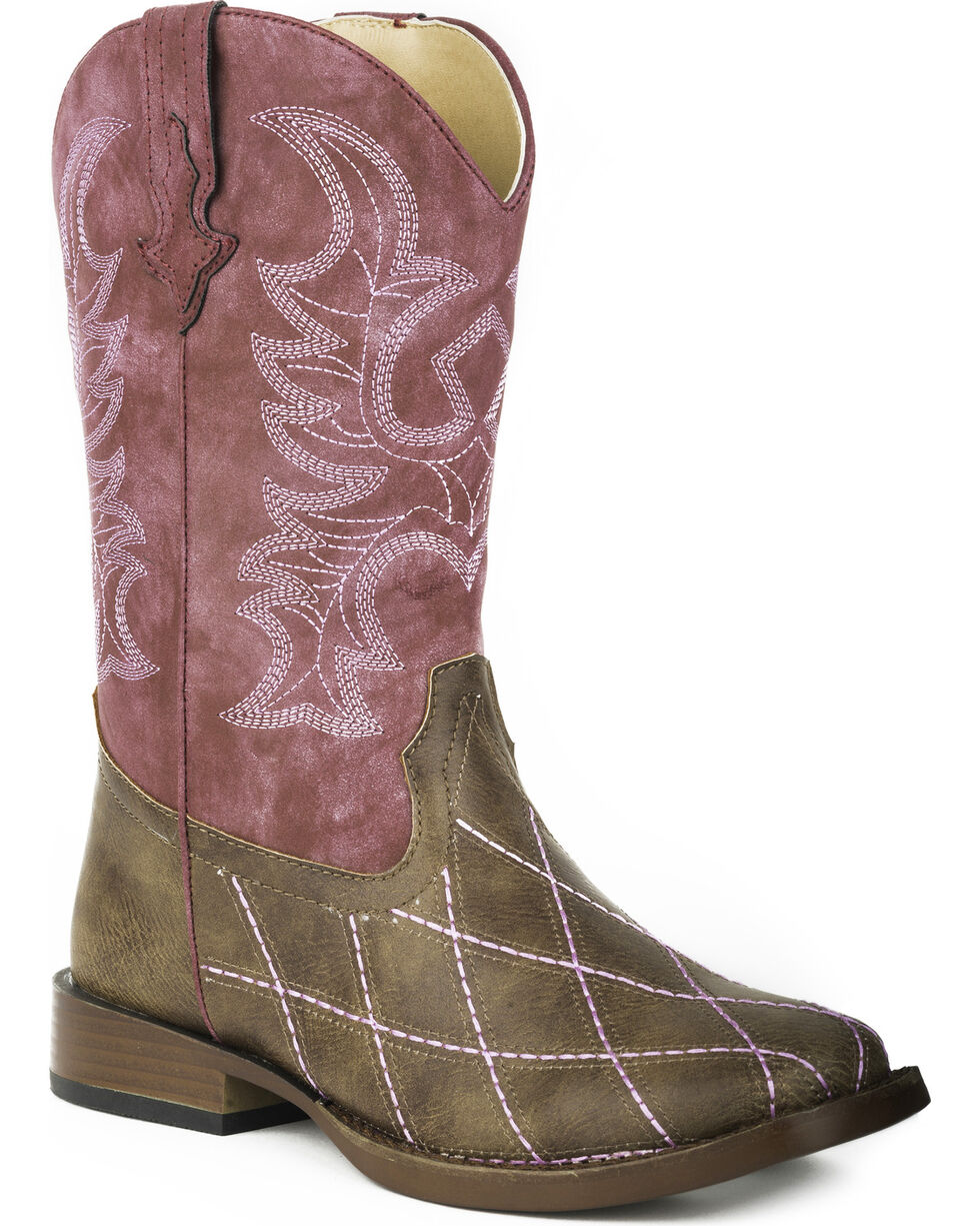 Roper Youth Girls' Cross Cut Western Boots - Square Toe , Brown, hi-res