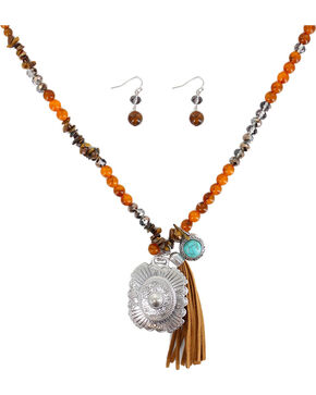 Shyanne Women's Beaded Fringe Jewelry Set , Brown, hi-res