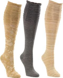 La De Da Women's 3-Pack Tapestry Scrunch Socks , Taupe, hi-res