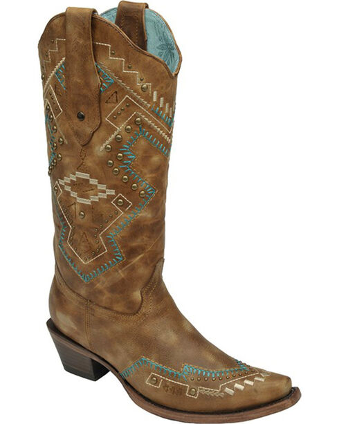 Corral Studded Southwestern Cowgirl Boots - Snip Toe, Tan, hi-res