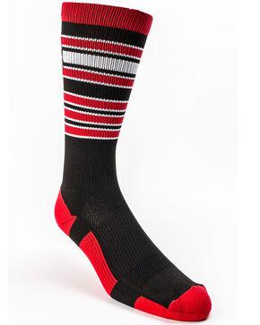 Cinch Men's Red and Black Crew Socks , Black, hi-res