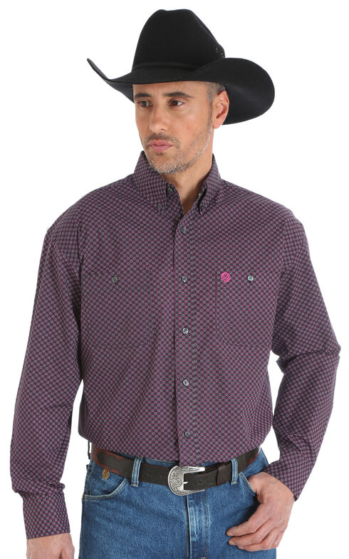 Wrangler George Strait Men's Printed Poplin Button Down Shirt - Big & Tall, Magenta, hi-res
