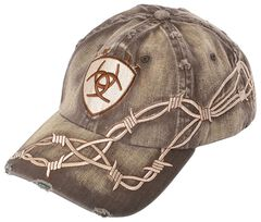 Ariat Barbed Wire Ballcap, Brown, hi-res