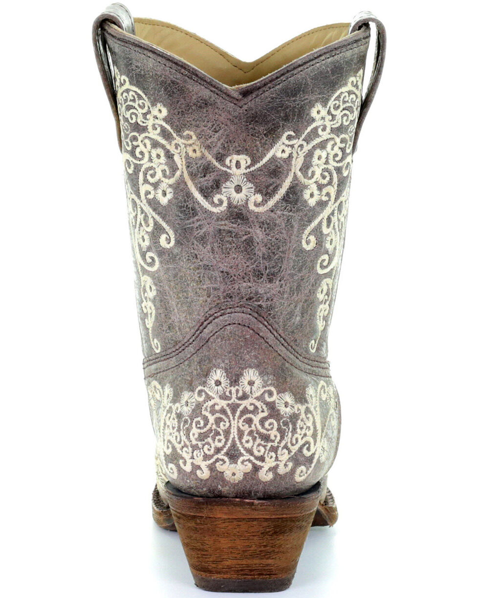 Corral Crater Embroidery Short Boots - Snip Toe, Brown, hi-res