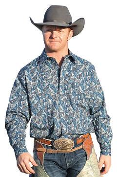 Cinch Men's Blue Grey Paisley Snap Modern Fit Western Shirt  , , hi-res