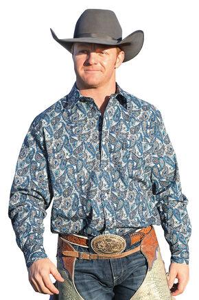 Cinch Men's Blue Grey Paisley Snap Modern Fit Western Shirt  , Multi, hi-res