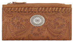 American West Women's Tan Tooled Foldover Snap Closure Wallet , Tan, hi-res