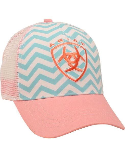 Ariat Women's Aqua and Pink Chevron Ballcap, Pink, hi-res