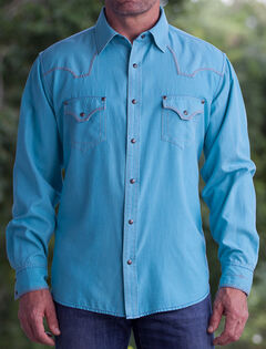 Ryan Michael Men's Medium Blue Pool Western Shirt, Med Blue, hi-res