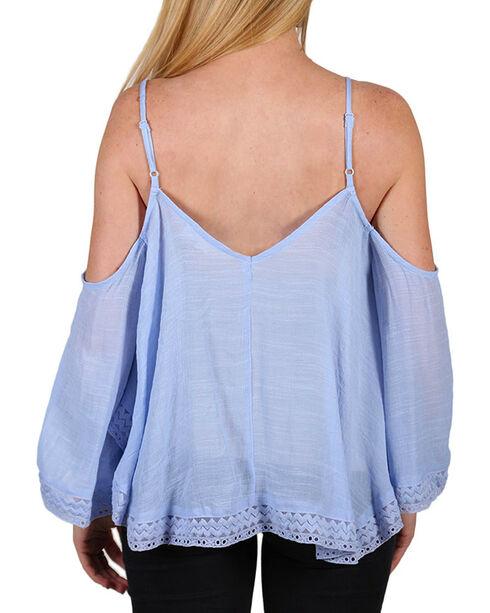 HYFVE Women's Cold Shoulder Bell Sleeve Blouse, Blue, hi-res