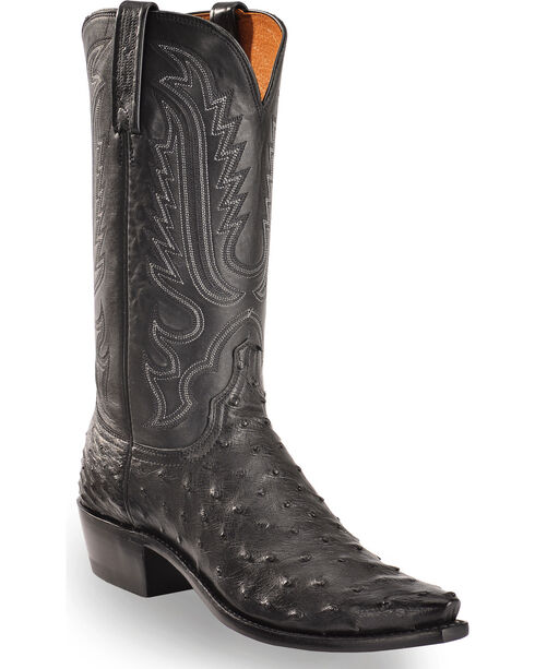 Lucchese Men's Luke Black Full Quill Ostrich Western Boots - Square Toe, Black, hi-res