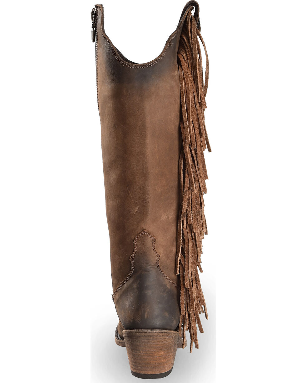 Liberty Black Women's Vegas T-Moro Fringe Cowgirl Boots - Pointed Toe , Brown, hi-res