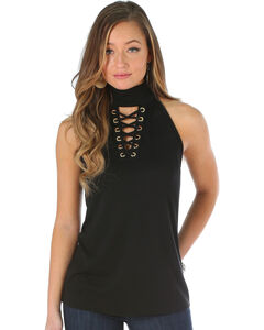 Wrangler Women's Black Lace Up Fashion Tank , Black, hi-res